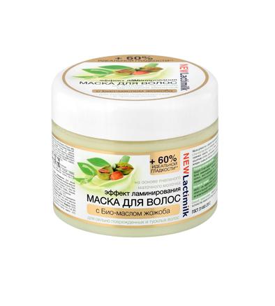 Lactimilk маска с эффектом ламинирования для повреждённых и тусклых волосLactimilk<br>На основе пчелиного маточного молочка с био-маслом жожоба. Маска для волос с эффектом ламинирования на основе пчелиного маточного молочка с био-маслом жожоба поможет сильно поврежденным и тусклым волосам вернуть прежнюю красоту, силу и блеск. Она обволакивает поверхность волоса тонким защитным слоем, разглаживая и уплотняя его, облегчает процесс расчесывания и укладки, защищает волосы от дальнейших повреждений при горячей укладке. Пчелиное маточное молочко – это богатейший по биологическому составу природный продукт. В нем содержится более 100 полезных соединений и минеральных веществ, белки, аминокислоты, витамины группы В, каротин, и витамин Р. Оно укрепляет волосы, восстанавливает их структуру по всей длине, моментально запаивая секущиеся кончики и делая волосы невероятно сильными и здоровыми. Био-масло жожоба ценный источник витамина E и полиненасыщенных жирных кислот, оно эффективно укрепляет корни, стимулируя рост волос. Интенсивно питает и защищает волосы от негативного воздействия окружающей среды, придает им неповторимый сияющий блеск. Способ применения: нанесите маску на чистые влажные волосы, распределите по всей длине волос. Через 10-15 минут смойте тёплой водой. Используйте 1-2 раза в неделю. Информация о характеристиках, комплекте поставки, стране изготовления и внешнем виде товара носит справочный характер и основывается на последних доступных к моменту публикации сведениях. Результаты взаимодействия косметических средств зависят от индивидуальных особенностей организма.<br><br>Вес г: 350<br>Бренд: Lactimilk<br>Объем мл: 300<br>Тип волос: поврежденные, длинные и секущиеся<br>Действие: восстановление, разглаживание<br>Тип средства для волос: маска<br>Страна производитель: Россия