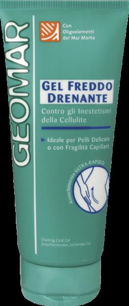 GEOMAR Гель антицеллюлитный для тела холодный дренажКрем для тела<br>Гель холодный дренаж GEOMAR быстро впитывается и борется с целлюлитом.<br>Подходит для чувствительной кожи и/или в случае ломких капилляров.<br>Формула содержит натуральные активные компоненты:<br>ЭСЦИН – способствует улучшению микроциркуляции<br>ЭКСТРАКТ КОНСКОГО КАШТАНА – укрепляет стенки сосудов<br>КОФЕИН И ЭКСТРАКТ МОРСКИХ ВОДОРОСЛЕЙ - стимулирует эффективное липолитическое действие<br>ПРОДУКТ С ДРЕНАЖНЫМ ЭФФЕКТОМ – увлажняет и питает кожу<br>ОЛИГОЭЛЕМЕНТЫ МЕРТВОГО МОРЯ – восстанавливает сияние и устойчивость кожи.<br>Ощущение свежести наступает мгновенно, благодаря содержащемуся натуральному ментолу, действие которого продляет Frescolat®.<br><br>Вес г: 250<br>Бренд : Geomar<br>Объем мл: 200<br>Страна производитель : Италия