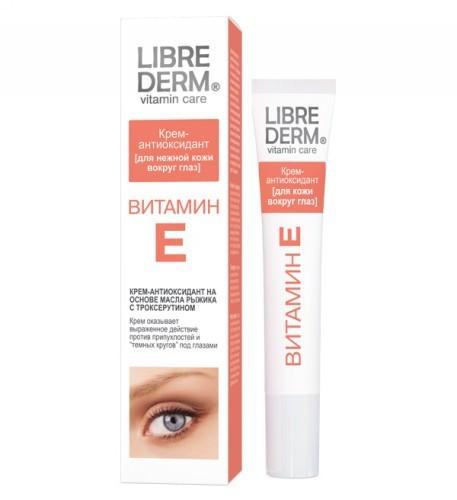 LIBREDERM ВИТАМИН Е Крем-антиоксидант для нежной кожи вокруг глазLibrederm<br>Крем-антиоксидант с витамином Е на основе масла рыжика, усиленный <br>троксерутином специально создан для великолепного ухода за вашей кожей.Активные компоненты:ВИТАМИН Е (токоферол)  – мощный антиоксидант, <br>замедляющий процессы старения, обладает превосходными увлажняющими <br>свойствами, поддерживая водно-липидный баланс. Способствует быстрой <br>регенерации и обновлению клеток. Помогает защитить кожу от вредного <br>воздействия ультрафиолетовых лучей.ТРОКСЕРУТИН – биофлавоноид, самый стабильный <br>природный антиоксидант, активно действует против образования <br>припухлостей и «темных кругов» под глазами.МАСЛО РЫЖИКА – природный питательный компонент, на <br>60% состоящий из полиненасыщенных жирных кислот. Обладает <br>трансдермальными свойствами, позволяющими обеспечить проникновение всех <br>активных компонентов крема в глубокие слои кожи, что значительно <br>усиливает эффективность крема.Эффект от применения:  Ежедневное применение крема замедляет процессы старения кожи, делая ее мягкой, гладкой и увлажненной. Делает мимические морщинки менее заметными. Крем оказывает выраженное действие против припухлостей и «темных кругов» под глазамиОбласть применения:  Крем-антиоксидант для нежной кожи вокруг глаз<br><br>Вес г: 30<br>Бренд: Librederm<br>Объем мл: 20<br>Часть лица: глаза<br>Вид средства для век: крем<br>По времени суток: дневной уход<br>Страна производитель: Россия