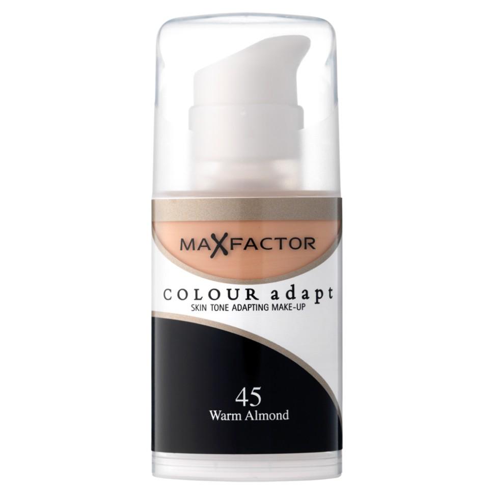 Max Factor основа под макияж Colour Adapt (45 warm almond)Max Factor<br>Тональный крем Max Factor Colour Adapt длительного действия придает лицу естественный оттенок, подстраивается под цвет лица, хорошо матирует, маскирует недостатки и пигменты кожи, легко и равномерно наносится благодаря легкой текстуре. Колор Адапт быстро впитывается и не создает эффекта маски, держится в течение всего дня. Его можно использовать как основу под макияж лица, а также в качетве самостоятельного тонального средства. Формула крем-пудры для безупречного покрытия. Не закупоривает поры.- Естественное покрытие, не скрывающее естественного блеска.- Не сушит кожу.- Без масла, подходит для чувствительной кожи.Протестировано дерматологами.Ваш макияж лица безупречен!Способ применения:Сравни тон основы с тоном кожи на щеках и линии челюсти, чтобы подобрать идеальный оттенок. Если тон подобран правильно, то он буквально исчезнет на твоей коже. Чтобы достичь ровного покрытия, нанеси небольшое количество основы на тыльную сторону ладони и распредели по лицу кистью или кончиками пальцев. <br>Состав:Циклометикон, вода, глицерин, двуокись титана, диметикон сополимер, слюда, диметикон, ПЕГ – 10 диметикон сополимер, диметилциклосилоксан, метикон, ПЕГ/ППГ – 18/ 18 метикон, бензиловый спирт, этилпарабен,двунатриевая этилендиаминтетрауксусная кислота, метилпарабен, пропилпарабен,<br><br>Тон : 75 golden<br>Бренд : Max Factor<br>Упаковка : с дозатором<br>Тип кожи : чувствительная<br>Степень покрытия : средняя<br>Эффект от нанесения : выравнивающий<br>Тип тонального средства : крем-пудра<br>Страна производитель : Ирландия