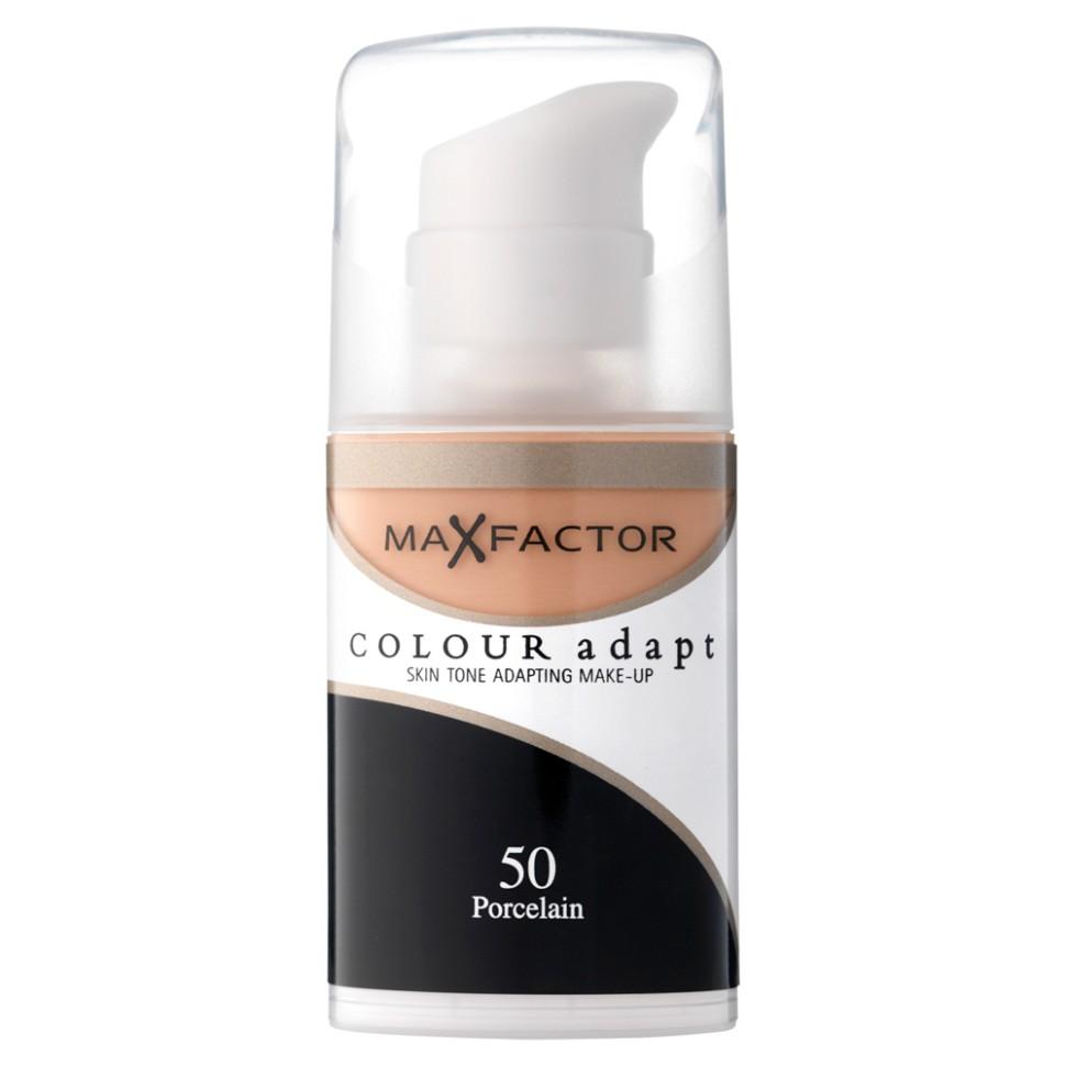 Max Factor основа под макияж Colour Adapt (50 porcelain)Max Factor<br>Тональный крем Max Factor Colour Adapt длительного действия придает лицу естественный оттенок, подстраивается под цвет лица, хорошо матирует, маскирует недостатки и пигменты кожи, легко и равномерно наносится благодаря легкой текстуре. Колор Адапт быстро впитывается и не создает эффекта маски, держится в течение всего дня. Его можно использовать как основу под макияж лица, а также в качетве самостоятельного тонального средства. Формула крем-пудры для безупречного покрытия. Не закупоривает поры.- Естественное покрытие, не скрывающее естественного блеска.- Не сушит кожу.- Без масла, подходит для чувствительной кожи.Протестировано дерматологами.Ваш макияж лица безупречен!Способ применения:Сравни тон основы с тоном кожи на щеках и линии челюсти, чтобы подобрать идеальный оттенок. Если тон подобран правильно, то он буквально исчезнет на твоей коже. Чтобы достичь ровного покрытия, нанеси небольшое количество основы на тыльную сторону ладони и распредели по лицу кистью или кончиками пальцев. <br>Состав:Циклометикон, вода, глицерин, двуокись титана, диметикон сополимер, слюда, диметикон, ПЕГ – 10 диметикон сополимер, диметилциклосилоксан, метикон, ПЕГ/ППГ – 18/ 18 метикон, бензиловый спирт, этилпарабен,двунатриевая этилендиаминтетрауксусная кислота, метилпарабен, пропилпарабен,<br><br>Вес г: 50<br>Бренд : Max Factor<br>Упаковка : с дозатором<br>Тип кожи : чувствительная<br>Степень покрытия : средняя<br>Эффект от нанесения : выравнивающий<br>Тип тонального средства : крем-пудра<br>Страна производитель : Ирландия