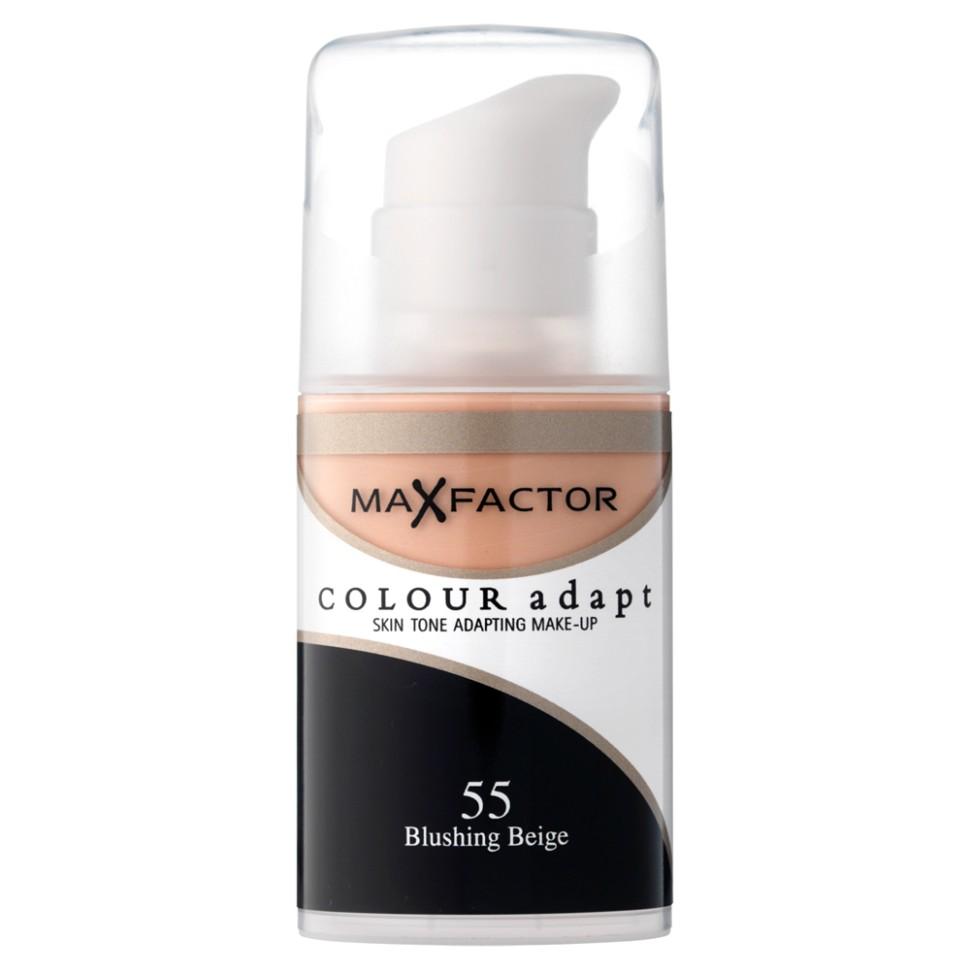 Max Factor основа под макияж Colour Adapt (55 blushing beige)Max Factor<br>Тональный крем Max Factor Colour Adapt длительного действия придает лицу естественный оттенок, подстраивается под цвет лица, хорошо матирует, маскирует недостатки и пигменты кожи, легко и равномерно наносится благодаря легкой текстуре. Колор Адапт быстро впитывается и не создает эффекта маски, держится в течение всего дня. Его можно использовать как основу под макияж лица, а также в качетве самостоятельного тонального средства. Формула крем-пудры для безупречного покрытия. Не закупоривает поры.- Естественное покрытие, не скрывающее естественного блеска.- Не сушит кожу.- Без масла, подходит для чувствительной кожи.Протестировано дерматологами.Ваш макияж лица безупречен!Способ применения:Сравни тон основы с тоном кожи на щеках и линии челюсти, чтобы подобрать идеальный оттенок. Если тон подобран правильно, то он буквально исчезнет на твоей коже. Чтобы достичь ровного покрытия, нанеси небольшое количество основы на тыльную сторону ладони и распредели по лицу кистью или кончиками пальцев. <br>Состав:Циклометикон, вода, глицерин, двуокись титана, диметикон сополимер, слюда, диметикон, ПЕГ – 10 диметикон сополимер, диметилциклосилоксан, метикон, ПЕГ/ППГ – 18/ 18 метикон, бензиловый спирт, этилпарабен,двунатриевая этилендиаминтетрауксусная кислота, метилпарабен, пропилпарабен,<br><br>Вес г: 50<br>Бренд : Max Factor<br>Упаковка : с дозатором<br>Тип кожи : чувствительная<br>Степень покрытия : средняя<br>Эффект от нанесения : выравнивающий<br>Тип тонального средства : крем-пудра<br>Страна производитель : Ирландия