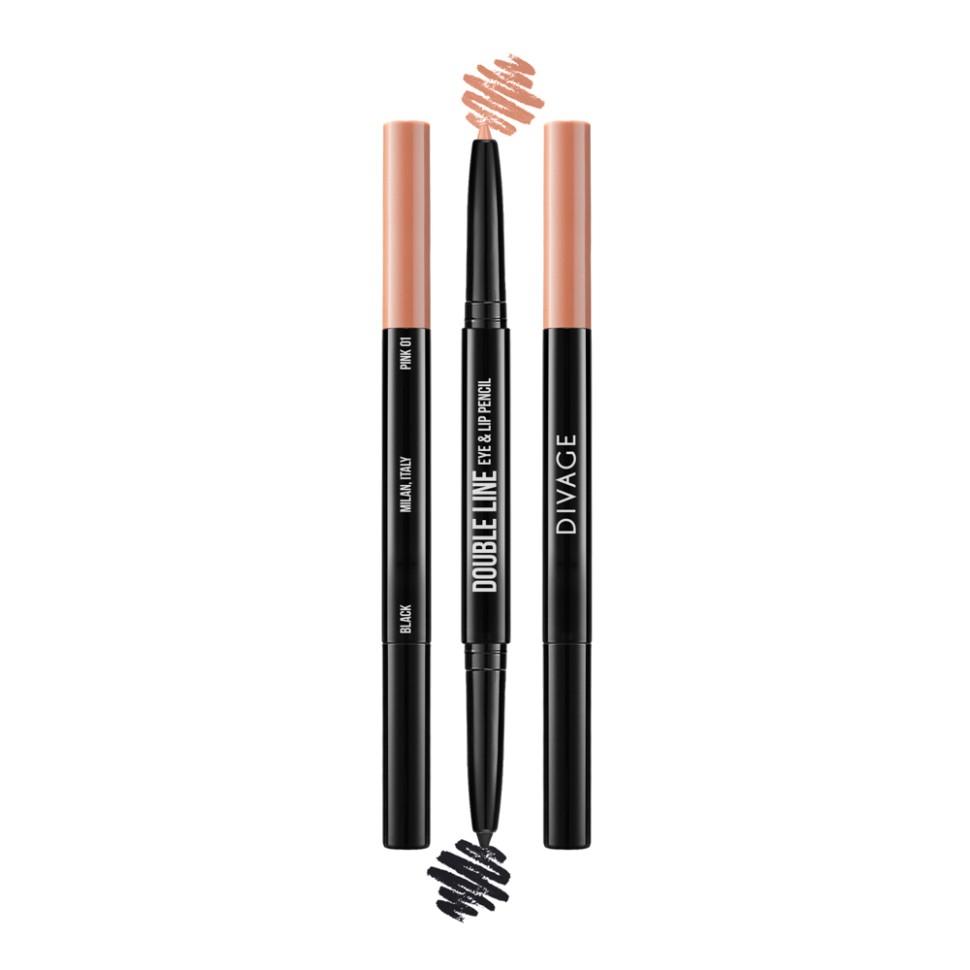 Divage Карандаш для глаз и губ автоматический Double Line Eye &amp; Lip Pencil (01 персиковый)Divage<br>Двусторонний автоматический карандаш для глаз и губ DOUBLE LINE творит чудеса: одним цветом ты подчеркиваешь глаза, а другим губы. Каждый карандаш с одной стороны имеет черный оттенок, а с другой популярные трендовые оттенки для губ. Мягкая кремовая текстура карандаша делает их использование еще более приятным. Карандаши имеют удобный и функциональный автоматический механизм.<br>Автоматические карандаши имеют мягкую кремовую текстуру, а удобная форма стержня в виде треугольника обеспечивает безупречное нанесение.  Карандаши представлены в пяти самых популярных оттенках, что позволит выполнить повседневный или яркий вечерний макияж.   Интенсивная концентрация пигментов обеспечивает яркий, насыщенный цвет.<br>Состав:<br>Состав: Ricinus Communis (Castor) Seed Oil, Theobroma Cacao (Cocoa) Seed Butter, Cocos Nucifera (Coconut) Oil, Beeswax, Ceresin, Lanolin Oil, Ethylhexyl Palmitate, Stearyl Stearate, Lanolin, Copernicia Cerifera (Carnauba) Wax, Propylparaben.<br><br>Вес г: 36<br>Бренд : Divage<br>Тип карандаша : автоматический<br>Объем мл: 3<br>Страна производитель : Китай