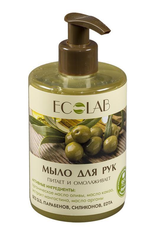 Ecolab Мыло для рук Питает и омолаживаетДля тела<br>Мыло для рук Эколаб содержит более 95% ингредиентов растительного происхождения. Входящее в состав масло арганы питает и увлажняет кожу. Продукт не содержит SLS, парабенов и силиконов.Органическое масло оливы<br>Богат антиоксидантами, защищает кожу от преждевременного старения и делает ее более гладкой.<br>Натуральное какао масло помогает справиться с уставшим и серым цветом лица, и может беспроблемно использоваться в е даже за самой чувствительной кожей.<br>Экстракт мангостина обладает антиоксидантной активностью, а так же за восстанавливающим действием на кожу и поврежденные волосы.<br><br>Вес г: 350<br>Бренд : Ecolab<br>Объем мл: 300<br>Страна производитель : Россия