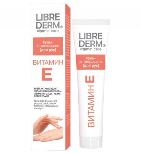 LIBREDERM ВИТАМИН Е Крем-антиоксидант для рукLibrederm<br>Крем-антиоксидант с выраженными защитными свойствами специально создан для великолепного ухода за кожей рук.ВИТАМИН Е (токоферол)  – мощный антиоксидант, <br>замедляющий процессы старения, обладает превосходными увлажняющими <br>свойствами, поддерживая водно-липидный баланс. Способствует быстрой <br>регенерации и обновлению клеток. Помогает защитить кожу от вредного <br>воздействия ультрафиолетовых лучей.МАСЛО СОИ — эффективно питает и увлажняет кожу. <br>Создает защитный барьер на поверхности кожи, предохраняющий ее от <br>пересыхания и агрессивных воздействий окружающей среды.АЛЛАНТОИН — обладает смягчающим и увлажняющим  действием на кожу, усиливает регенерационную способность клеток.  Крем-антиоксидант с выраженными защитными свойствами специально создан для великолепного ухода за кожей рук. Предназначен для ухода за сухой, тонкой, склонной к раздражению кожей. Роскошная текстура покрывает кожу легким защитным слоем. Не оставляет липкой или жирной пленки, делает кожу бархатистой.<br><br>Вес г: 150<br>Бренд : Librederm<br>Объем мл: 125<br>Средство для рук : крем<br>Страна производитель : Россия
