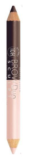 Bourjois карандаш для бровей Brow Duo Sculpt (23 brun)Bourjois<br>Карандаш для бровей 2-в-1 придает желаемой формы и цвета бровей, а также высвечивает зону под бровями. Мягкая, кремовая, нежирная формула хайлайтера с другой стороны карандаша используется под бровью или для внутреннего уголка глаза придавая взгляду сияние и свежесть! Распределите и растушуйте универсальный опаловый оттенок хайлайтера под линией брови.  Способ применения: брови необходимо причесать и карандашом нанести метки, чтобы правильно и равномерно нанести штрихи. Потом волоски причесываются щеточкой для бровей и наносятся сами штрихи по направлению роста бровей. Цвет карандаша может быть однотонным или же разным.<br><br>Вес г: 10<br>Бренд : Bourjois<br>Тип средства для бровей : карандаш<br>Страна производитель : Франция
