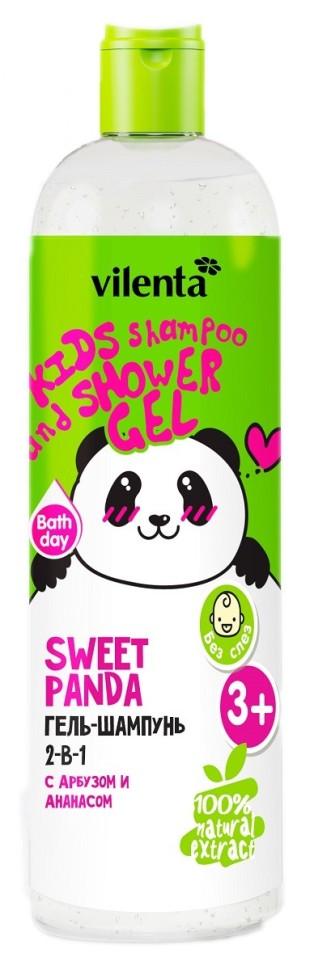 VILENTA ANIMAL Гель для душа+шампунь 2в1 Sweet Panda с Арбузом и Ананасом 400млVilenta<br>Освежающий Гель-Шампунь 2-в-1 для маленьких исследователей бережно <br>очищает кожу и волосы ребенка. Специальный кондиционирующий компонент, <br>входящий в формулу средства, придает особую нежность при нанесении и <br>способствует увлажнению. Мягкая воздушная пена не щиплет глазки, а <br>фруктовый аромат Арбуза и Ананаса наполняет кроху энергией для новых <br>открытий.<br><br>Вес г: 430<br>Бренд : Vilenta<br>Объем мл: 400<br>Страна производитель : Китай