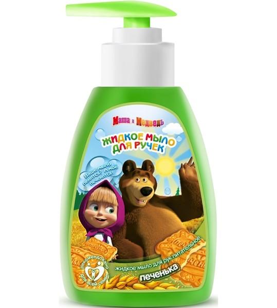 Маша и Медведь Мыло жидкое для рук питательное ПеченькаМаша и Медведь<br>Детское жидкое мыло для рук Маша и медведь Печенька разработано специально для бережного ухода за чувствительной кожей малыша и обладает мягкими моющими свойствами. Детям и взрослым непременно понравится это питательное мыло со сладким ароматом печенья, мягкой PH-нейтральной формулой и удобным экономичным флаконом Soft Touch с дозатором. <br>В состав жидкого мыла входят полезные и эффективные масла и экстракты: <br>- масло какао - смягчает и увлажняет кожу, защищает от обморожений и обветриваний; <br>- экстракт ромашки обладает активными противовоспалительным, заживляющим, антиаллергическим действиями; <br>- D-пантенол оказывает противовоспалительное действие, хорошо помогает при раздражении и шелушении кожи; <br>- лимонная кислота применяется в качестве противозудного, отбеливающего, антисептического средства; <br>- молочная кислота - это мощный увлажнитель, избавляет кожу от омертвевших клеток, придает ей естественную бархатистость.<br><br>Вес г: 350<br>Бренд : Маша и Медведь<br>Объем мл: 290<br>Страна производитель : Россия