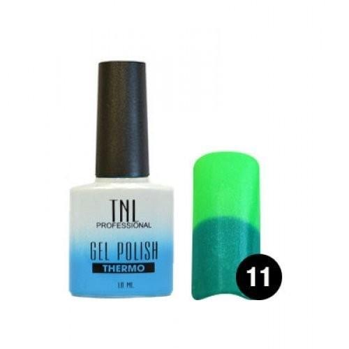 TNL Гель-лак Тhermo 10 мл (№11 малахитовый/лайм)TNL<br>Гель-лаки Thermo effect меняют цвет в зависимости от температуры. Такой эффект долго не надоедает, потому что оттенок как по волшебству переходит от одного к другому. Достаточно поместить руку в теплую воду и ноготки заиграют другим цветом. Гель-лак реагирует на температуру тела, а точнее на температуру ногтя, потому что на его поверхности она колеблется: у основания ногтя температура высокая, на свободном крае - наоборот, низкая. Именно это и влияет на его цветовой переход.  Технология нанесения:  1. Подготовьте ногтевую пластину.  2. Нанесите базовое покрытие, поместите в лампу. LED – 1 мин./УФ – 2 мин.  3. Нанесите гель-лак в два слоя, помещая ноготь  в лампу после каждого слоя. LED – 1 мин./УФ – 2 мин.  4. Нанесите закрепитель, поместите в лампу. LED – 1 мин./УФ – 2 мин.  При необходимости удалите дисперсионный слой.<br><br>Вес г: 20<br>Бренд: TNL<br>Объем мл: 10<br>Вид лака: гель-лак<br>Эффект на ногтях: глянец<br>Страна производитель: Южная Корея