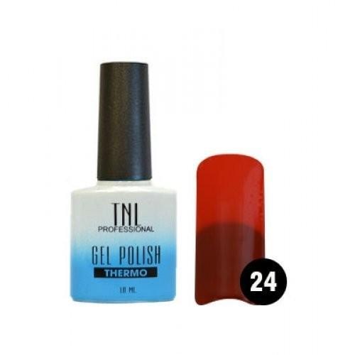 TNL Гель-лак Тhermo 10 мл (№24 бурый/ярко красный)TNL<br>Гель-лаки Thermo effect меняют цвет в зависимости от температуры. Такой эффект долго не надоедает, потому что оттенок как по волшебству переходит от одного к другому. Достаточно поместить руку в теплую воду и ноготки заиграют другим цветом. Гель-лак реагирует на температуру тела, а точнее на температуру ногтя, потому что на его поверхности она колеблется: у основания ногтя температура высокая, на свободном крае - наоборот, низкая. Именно это и влияет на его цветовой переход.  Технология нанесения:  1. Подготовьте ногтевую пластину.  2. Нанесите базовое покрытие, поместите в лампу. LED – 1 мин./УФ – 2 мин.  3. Нанесите гель-лак в два слоя, помещая ноготь  в лампу после каждого слоя. LED – 1 мин./УФ – 2 мин.  4. Нанесите закрепитель, поместите в лампу. LED – 1 мин./УФ – 2 мин.  При необходимости удалите дисперсионный слой.<br><br>Вес г: 20<br>Бренд: TNL<br>Объем мл: 10<br>Вид лака: гель-лак<br>Эффект на ногтях: глянец<br>Страна производитель: Южная Корея
