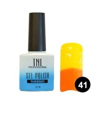 TNL Гель-лак Тhermo 10 мл (№41 апельсиновый-желтый)TNL<br>Гель-лаки Thermo effect меняют цвет в зависимости от температуры. Такой эффект долго не надоедает, потому что оттенок как по волшебству переходит от одного к другому. Достаточно поместить руку в теплую воду и ноготки заиграют другим цветом. Гель-лак реагирует на температуру тела, а точнее на температуру ногтя, потому что на его поверхности она колеблется: у основания ногтя температура высокая, на свободном крае - наоборот, низкая. Именно это и влияет на его цветовой переход.  Технология нанесения:  1. Подготовьте ногтевую пластину.  2. Нанесите базовое покрытие, поместите в лампу. LED – 1 мин./УФ – 2 мин.  3. Нанесите гель-лак в два слоя, помещая ноготь  в лампу после каждого слоя. LED – 1 мин./УФ – 2 мин.  4. Нанесите закрепитель, поместите в лампу. LED – 1 мин./УФ – 2 мин.  При необходимости удалите дисперсионный слой.<br><br>Вес г: 20<br>Бренд: TNL<br>Объем мл: 10<br>Вид лака: гель-лак<br>Эффект на ногтях: глянец<br>Страна производитель: Южная Корея