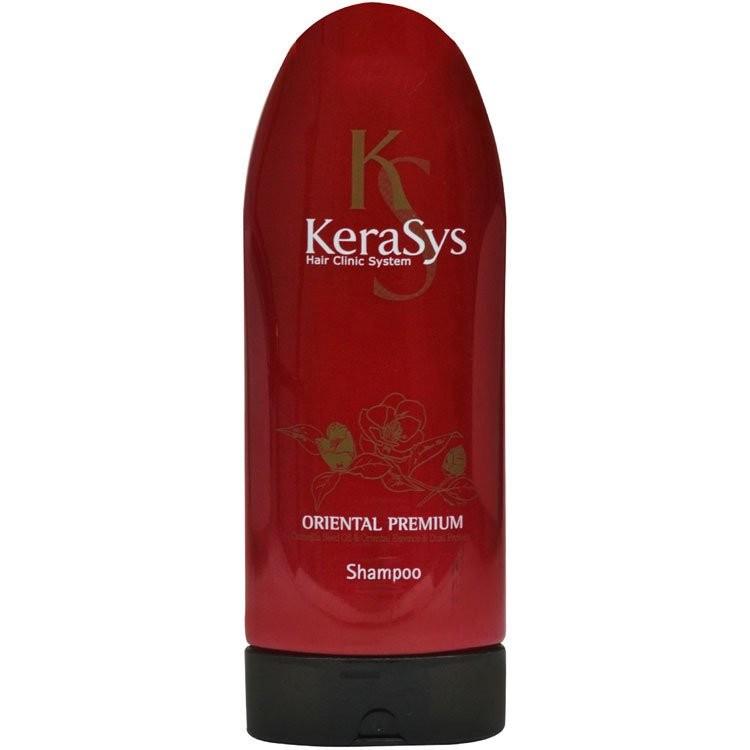 KeraSys Шампунь для волос Oriental восстанавливающий поврежденные волосы и укрепляющий корни (200 мл)KeraSys<br>Какими бы сильными и здоровыми волосами не наделила бы нас природа, их привлекательность без полноценного ежедневного ухода не возможна. Шампунь KeraSys Oriental Premium – продукт известного корейского бренда, способный удовлетворить требования даже самой взыскательной дамы. Это идеальное сочетание традиционного восточного подхода к изготовлению косметики и инновационных технологий современности.  Регулярное использование такого шампуня подарит вашим волосам здоровый блеск, упругость, шелковистость и максимальную увлажненность. Шампунь для волос KeraSys Oriental Premium порадует вас легкостью и экономностью применения. Кроме того, он обеспечивает:    кондиционирующий эффект, увеличивающий волосы в объеме и обеспечивающий легкость их расчесывания;  укрепление волосяных луковиц и защиту кутикулы;  устранение сухости локонов;  шелковистость и непревзойденный здоровый вид вашей прически;  лечение и профилактику выпадения волос и стимуляцию их активного роста.  Oriental Premium от Керасис оказывает благотворное влияние на волосы, пересушенные и поврежденные постоянными окрашиваниями и другими не щадящими процедурами.    За время своего существования на рынке стран СНГ высокоэффективный натуральный шампунь для волос KeraSys Oriental Premium отзывы заслужил исключительно положительные. Наличие в его составе целого комплекса чудодейственных травяных экстрактов обеспечивает максимальное питание волос. Натуральные экстракты женьшеня, орхидеи, граната, жгун-корня, листьев камелии, а также ангелики насыщают волосы полезными витаминами и минералами.  По отзывам потребителей, шампунь Керасис Oriental Premium отлично увлажняет локоны, предотвращает выпадение и стимулирует рост новых волос. Основным действующим компонентом данного косметического средства является масло камелии. На шампунь для волос KeraSys отзывы подтверждают, что натуральное растительное масло проникает 