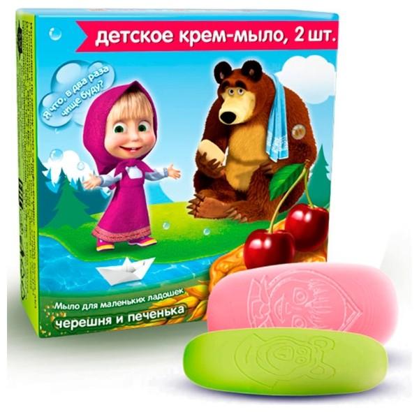 Маша и Медведь Мыло-крем детское Черешня и ПеченькаМаша и Медведь<br>Крем-мыло для маленьких ладошек нежно-розового цвета содержит 100% натуральный экстракт черешни, который наполняет кожу необходимыми витаминами, микро- и макроэлементами, оказывает тонизирующий и увлажняющий эффект. Брусочек светло-желтого цвета содержит экстракт молока, который прекрасно смягчает кожу, предохраняя ее от пересушивания. Мыло полностью соответствует высоким требованиям, предъявляемым к детской продукции и подходит для ежедневной гигиены малыша с первых дней жизни.<br><br>Вес г: 100<br>Бренд : Маша и Медведь<br>Страна производитель : Россия