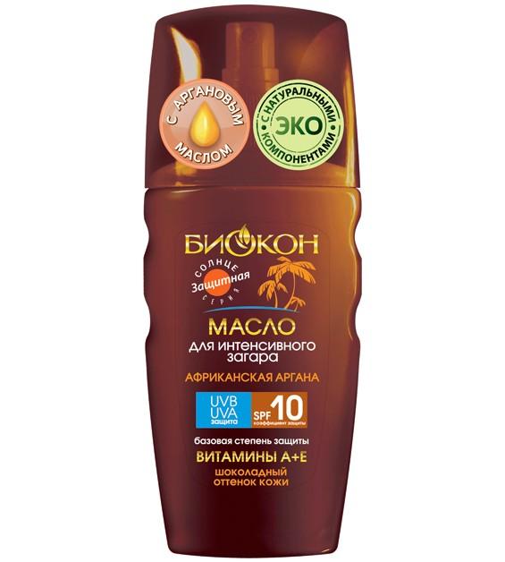 БИОКОН Sune Time Масло для интенсивного загара SPF10 Sexy Bronze-3D эффект 150млБИОКОН<br>Идеальное средство для любителей интенсивного загара желающих приобрести<br> естественный темный шоколадный оттенок кожи. Благодаря современным <br>фотофильтрам масло защищает кожу от солнечного ожога. Cодержит аргановое<br> масло, незаменимое для улучшения качества загара.<br><br>Вес г: 200<br>Бренд : Биокон<br>Объем мл: 150<br>Фактор SPF : 10<br>Тип средства : масло<br>Назначение : усилитель загара<br>Страна производитель : Украина