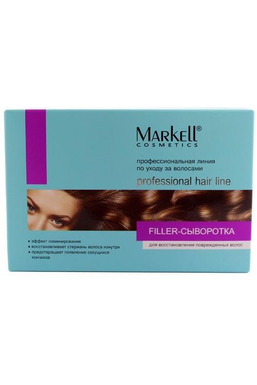 Markell FILLER-Своротка для восстановления поврежденных волосMarkell<br>Filler-сыворотка - инновационное высокоэффективное средство с использованием последних достижений в области современных технологий микроинкапсуляции. Благодаря насыщенной формуле с высоким содержанием активных компонентов, сыворотка быстро восстанавливает и питает поврежденные волосы, укрепляет волосяной стержень изнутри, повышает прочность и эластичность, обеспечивает естественную силу и блеск волос, способствует улучшению кровообращения кожного покрова головы, активно питает волосяные луковицы.-эффект ламинирования-восстановление стержня волоса изнутри-предотвращение появления секущихся кончиковПрименение: небольшое количество сыворотки нанести на волосы, распределить по всей их длине. Для усиления эффекта можно надеть полиэтиленовую шапочку. Смыть через 20-30 минут.<br><br>Вес г: 30<br>Бренд: Markell<br>Объем мл: 15<br>Тип волос: поврежденные, длинные и секущиеся<br>Действие: питание, укрепление, восстановление, блеск и эластичность<br>Тип средства для волос: сыворотка/эссенция<br>Страна производитель: Белоруссия