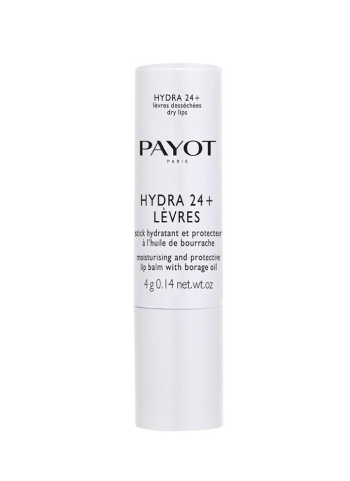 Payot Hydra 24+ Увлажняющий бальзам-стик для губ 4 млPayot<br>Бальзам увлажняет и возвращает комфорт сухой и поврежденной коже губ. Гипоаллергенное средство, не содержащее консервантов.<br>Способ применения:<br>Наносите бальзам на губы утром и вечером и при необходимости в любое время дня<br>Состав:<br>PARAFFINUM LIQUIDUM (MINERAL OIL), PARAFFIN, CERA MICROCRISTALLINA (MICROCRYSTALLINE WAX), COPERNICIA CERIFERA CERA (COPERNICIA CERIFERA (CARNAUBA) WAX), BUTYROSPERMUM PARKII (SHEA) BUTTER, C12-13 ALKYL LACTATE, CERA ALBA (BEESWAX) , CETYL ALCOHOL, BORAGO OFFICINALIS SEED OIL, TOCOPHERYL ACETATE, STEARYL GLYCYRRHETINATE, PARFUM (FRAGRANCE), ASCORBYL PALMITATE, TOCOPHEROL, BHT<br><br>Вес г: 37<br>Бренд : Payot<br>Объем мл: 4<br>Возраст : 16<br>Упаковка помады : футляр (выдвижная)<br>Текстура помады : глянцевая<br>Свойства помады : увлажняющая, гигиеническая<br>Вид помады : классическая<br>Страна производитель : Франция