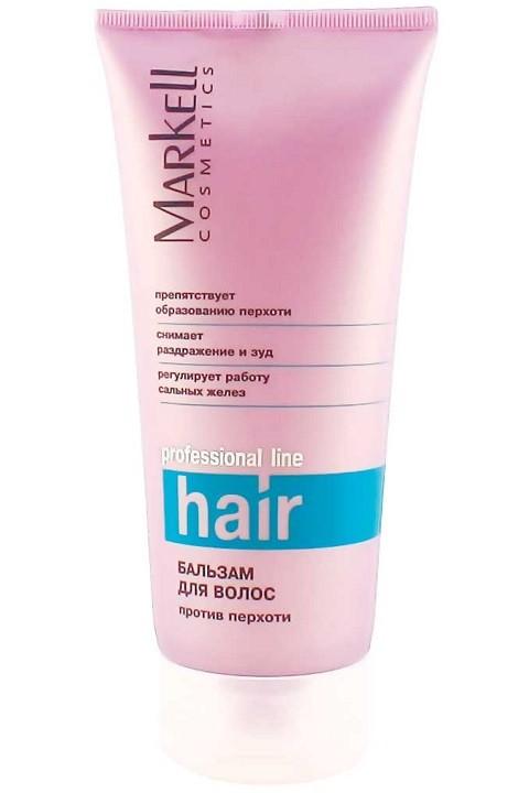 Markell Бальзам для волос Против перхотиMarkell<br>Бальзам с комплексом активных компонентов для здоровья и красоты Ваших волос восстанавливает липидный баланс кожи головы, препятствует образованию перхоти, уменьшает зуд, оказывает легкий пилинговый эффект. Комплекс витаминов укрепляет структуру волос, препятствует их выпадению.- препятствует образованию перхоти- снимает раздражение и зуд- регулирует работу сальных железПрименение: небольшое количество бальзама нанести на кожу головы, втереть массирующими движениями. Смыть через 10-15 минут.<br><br>Вес г: 220<br>Бренд : Markell<br>Объем мл: 200<br>Тип волос : все типы волос<br>Действие : укрепление, восстановление, против перхоти, от выпадения волос<br>Тип средства для волос : бальзам<br>Страна производитель : Белоруссия