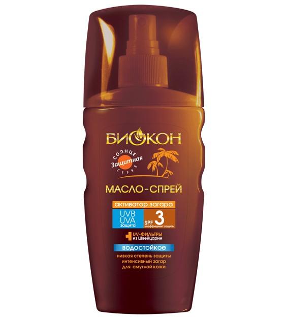 БИОКОН Sune Time Масло-спрей активатор загарa SPF3 Sexy Bronze-3D эффект 150млБИОКОН<br>Масло способствует более быстрому <br>приобретению красивого равномерного загара. Увлажняет и смягчает кожу. <br>Подчеркивает красоту тела. Подходит для смуглой или уже  загоревшей <br>кожи.<br><br>Вес г: 200<br>Бренд: Биокон<br>Объем мл: 150<br>Фактор SPF: 3<br>Тип средства: спрей, масло, активатор загара<br>Назначение: для лица и тела, усилитель загара<br>Страна производитель: Украина