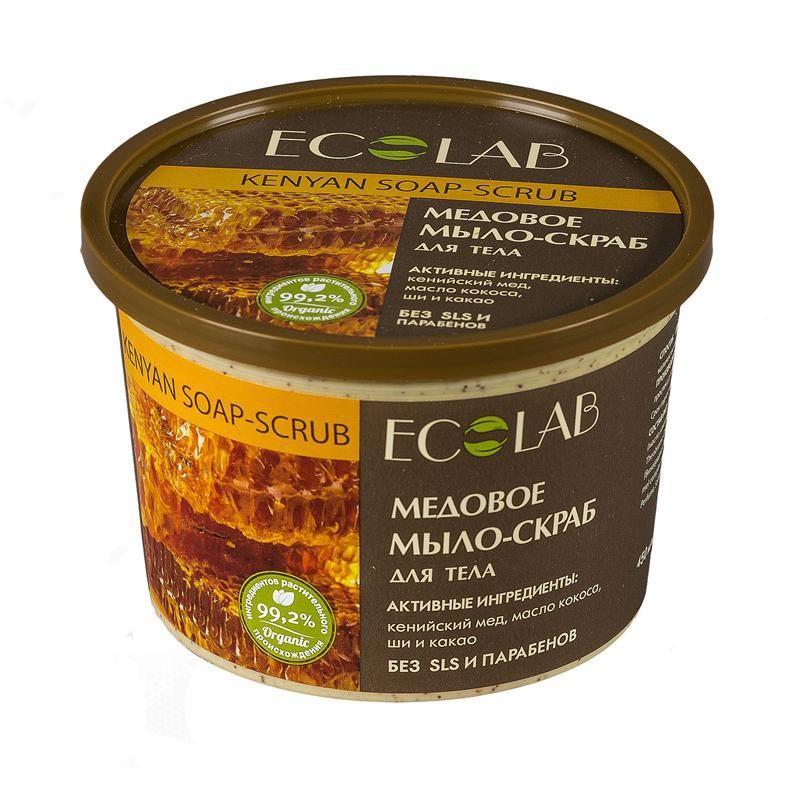 Ecolab Мыло-скраб для тела МедовоеДля тела<br>Мыло-скраб для тела Ecolab содержит более 99% ингредиентов растительного происхождения. Входящее в состав органическое масло какао способствует регенерации регенерации клеток, питает и смягчает кожу, делая ее гладкой и шелковистой. Продукт не содержит SLS, парабенов и силиконов.Масло ши (Карите) хранит в себе всю природную силу и абсолютно безопасен даже для детей и людей с очень чувствительной кожей.<br><br>Вес г: 500<br>Бренд : Ecolab<br>Объем мл: 450<br>Страна производитель : Россия