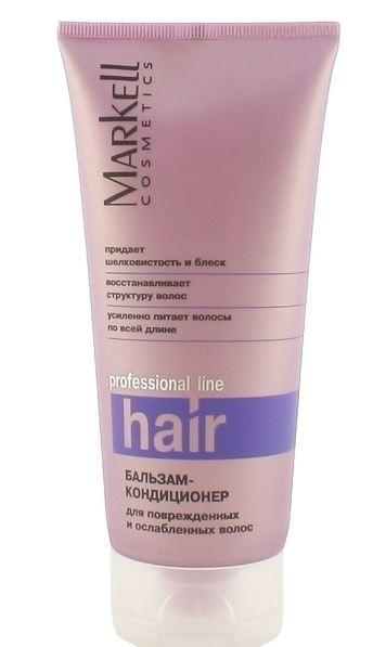 Markell Бальзам-кондиционер для поврежденных и ослабленных волос 200мл.Markell<br>Профессиональный бальзам-кондиционер для интенсивного ухода за поврежденными и ослабленными волосами. Моментально восполняет недостаток влаги, возвращает сухие, ломкие и слабые волосы к жизни, наполняя их энергией и здоровым сиянием.- усиленно питает волосы по всей длине- восстанавливает структуру волос- придает шелковистость и блескПрименение: небольшое количество бальзама нанести на вымытые волосы, распределить по всей длине. Смыть через 3-5 минут.<br><br>Вес г: 220<br>Бренд : Markell<br>Объем мл: 200<br>Тип волос : сухие, поврежденные, тонкие и ослабленные, длинные и секущиеся<br>Действие : питание, восстановление, блеск и эластичность<br>Тип средства для волос : бальзам<br>Страна производитель : Белоруссия