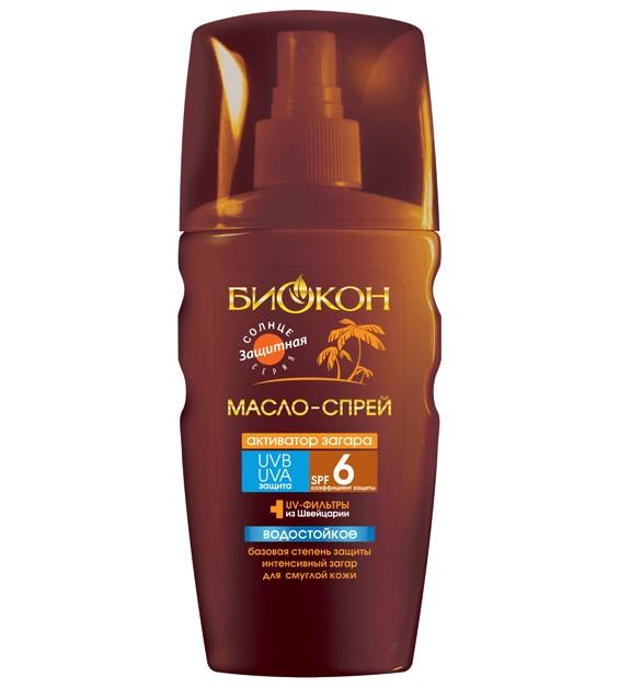 БИОКОН Sune Time Масло-спрей активатор загарa SPF6 Sexy Bronze-3D эффект 150млБИОКОН<br>Масло обладает базовой защитой и способствует более быстрому <br>приобретению красивого равномерного загара. Увлажняет и смягчает кожу. <br>Подчеркивает красоту тела.<br><br>Вес г: 200<br>Бренд: Биокон<br>Объем мл: 150<br>Фактор SPF: 6<br>Тип средства: спрей, масло, активатор загара<br>Назначение: для лица и тела, усилитель загара<br>Страна производитель: Украина