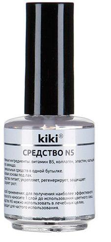 Kiki Средство №5 регенерирующее средство для ногтейKiki<br>СРЕДСТВО N5 - регенерирующее средство для ногтей 5 в 1Активные ингредиенты: коллаген, эластин, кальций, витамин В5, масло авокадо-  5 уникальных средств в одной бутылке.-  Базовая основа под лак.-  Средство: питает, укрепляет, регенерирует, защищает и ускоряет рост ногтей. Способ применения:Можно использовать в качестве основы под декоративный лак, или в качестве лечебного средства. Подходит для частого применения.Объем: 16 мл.<br><br>Вес г: 25<br>Бренд : Kiki<br>Объем мл: 16<br>Страна производитель : США<br>Тип средства для ногтей : основа под лак, восстановление ногтей, укрепление ногтей, для роста ногтей