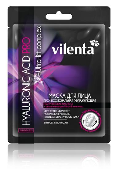 VILENTA HYALURONIC ACID PRO Маска увлажняющая тканевая для лица 35+Vilenta<br>Ультратонкая 100% натуральная шелковая маска Tencel, с активной концентрацией гиалуроновой кислоты высшей степени очистки, замедляя процессы старения, сокращает морщины сразу в трех направлениях: длину, глубину и ширину, интенсивно увлажняет, повышает упругость и эластичность кожи. Омолаживающий Ultra-lift комплекс (красной и зеленой водоросли) укрепляет структуру кожи, восстанавливая овал лица. Оливковое масло смягчает и питает, делая кожу бархатисто-гладкой.<br><br>Вес г: 40<br>Бренд : Vilenta<br>Объем мл: 28<br>Тип кожи : все типы кожи<br>Консистенция маски : тканевая<br>Часть лица : лицо<br>По времени суток : дневной уход<br>Назначение маски : увлажняющая, омолаживающая, подтягивающая<br>Страна производитель : Китай
