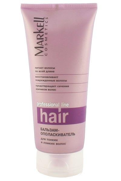 Markell Бальзам-Ополаскиватель для тонких и ломких волосMarkell<br>Бальзам содержит комплекс активных компонентов, которые способствуют быстрому восстановлению стержня волос и приданию волосам ухоженного и здорового вида.<br>Fucogeltm - обеспечивает интенсивное увлажнение волос и кожи, усиливает блеск, придает волосам мягкость, разглаживает их структуру.<br>Поликватерниум-7 облегчает расчесывание, придает объем и форму волосам, не утяжеляя их.<br>D-пантенол - устраняет сухость и ломкость волос, укрепляет и питает волосы по всей длине.<br>Протеины шелка - придают волосам жизненную силу и живой блеск.<br><br>Вес г: 220<br>Бренд : Markell<br>Объем мл: 200<br>Тип волос : тонкие и ослабленные, длинные и секущиеся<br>Действие : увлажнение, питание, укрепление, восстановление, для объема, легкое расчесывание, блеск и эластичность, разглаживание<br>Тип средства для волос : бальзам<br>Страна производитель : Белоруссия