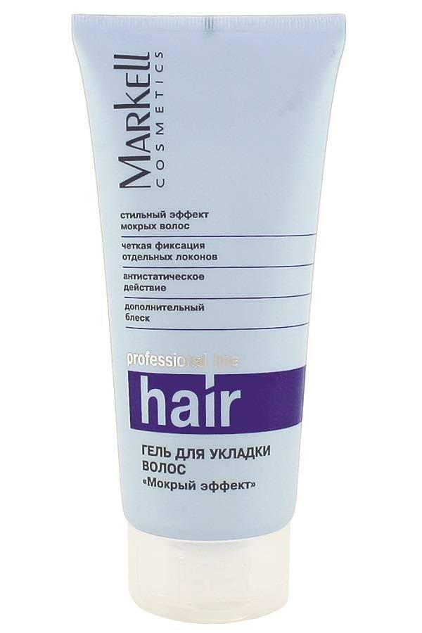 Markell Гель для укладки волос мокрый эффектMarkell<br>Профессиональный гель для стайлинга с увлажняющими компонентами, ухаживающим комплексом и УФ-фильтром. Обеспечивает надежную фиксацию причёски, эффект «мокрых волос», великолепное структурирование волос, невероятный блеск всей прически.<br><br>Вес г: 220<br>Бренд : Markell<br>Объем мл: 200<br>Тип волос : все типы волос<br>Страна производитель : Белоруссия<br>Средство стайлинга : гель<br>Степень фиксации : средняя<br>Эффект стайлинга : текстурирование, блеск, фиксация