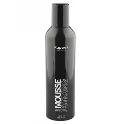 Kapous Мусс сильной фиксации Styling Studio 400 млKapous<br>Мусс предназначен для увеличения объема и возможности создания разнообразных причесок. Обеспечивает сильную фиксацию. Защищает волосы от теплового воздействия фена. Не склеивает волосы, придает им естественный блеск. Очень экономичен. Обладает приятным ароматом.<br><br>Вес г: 450<br>Бренд: Kapous<br>Объем мл: 400