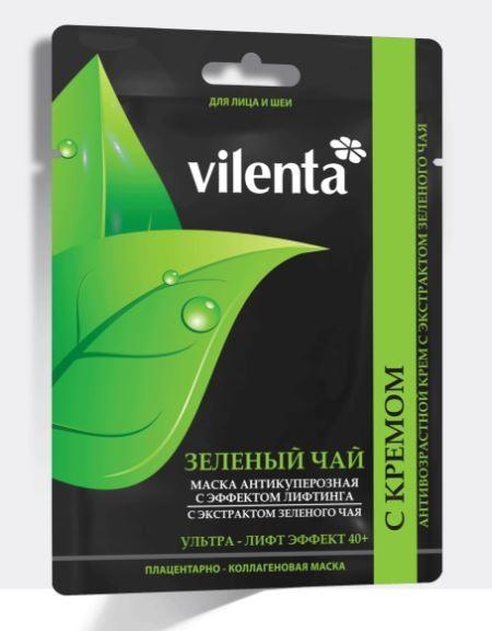 VILENTA Маска тканевая плацентарная коллагеновая Зеленый чай+антикуперозная с эффектом лифтинга 40+Vilenta<br>Плацентарно-коллагеновая омолаживающая антикуперозная маска + Антивозрастной крем с экстрактом зеленого чая.ЭТАП 1<br>Плацентарно-коллагеновая маска ЗЕЛЕНЫЙ ЧАЙ. Лицо + Шея<br>Действие: достоинством зеленого чая является способность укреплять капилляры и кровеносные сосуды, препятствовать проявлениям купероза, улучшать кислородный и водно-солевой обмен, а также нейтрализовать действие свободных радикалов, благодаря экстракту плаценты овцы маска обладает выраженным эффектом лифтинга, стимулирует синтез коллагена и эластина, укрепляющего клетку, гиалуроновая кислота превосходно увлажняет кожу, витамины замедляют процесс старения <br><br>Результат: свежая, шелковистая, гладкая, упругая и сияющая здоровьем кожа <br><br>Состав: экстракт плаценты овцы, коллагеновый белок, гиалуроновая кислота, экстракт листьев зеленого чая, витамины А, Е, С.ЭТАП 2<br>Антивозрастной крем с экстрактом зеленого чая <br>Действие: уникальный антиоксидантный лифтинг-комплекс крема на основе экстракта зеленого чая и масла ореха макадама стирает следы времени, возвращает молодость и упругость коже, закрепляя действие маски. <br><br>Применение: После тщательного удаления маски деликатно нанести небольшое кол-во крема на кожу лица и шеи.<br><br>Вес г: 50<br>Бренд: Vilenta<br>Объем мл: 40<br>Тип кожи: все типы кожи<br>Консистенция маски: тканевая<br>Часть лица: лицо<br>По времени суток: дневной уход<br>Назначение маски: увлажняющая, омолаживающая, подтягивающая<br>Страна производитель: Россия