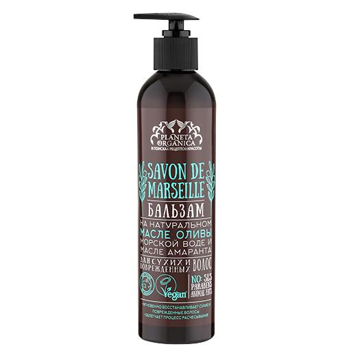 SAVON de Planeta Organica Бальзам для сухих поврежденных волос Savon de MARSEILLE 400млДля волос<br>Волшебный бальзам, созданный на основе 100% натуральных питательных масел амаранта и оливы, идеально подходит для ухода за сухими и поврежденными волосами. Формула бальзама, основанная на оливковом масле с добавлением морской воды, укрепляет волосы и кожу головы энергией морских минералов. Масло амаранта питает, «склеивает» поврежденную структуру волос, придавая им упругость.<br><br>Вес г: 430<br>Бренд : Planeta Organica<br>Объем мл: 400<br>Тип волос : сухие, поврежденные<br>Действие : питание<br>Тип средства для волос : бальзам<br>Страна производитель : Россия