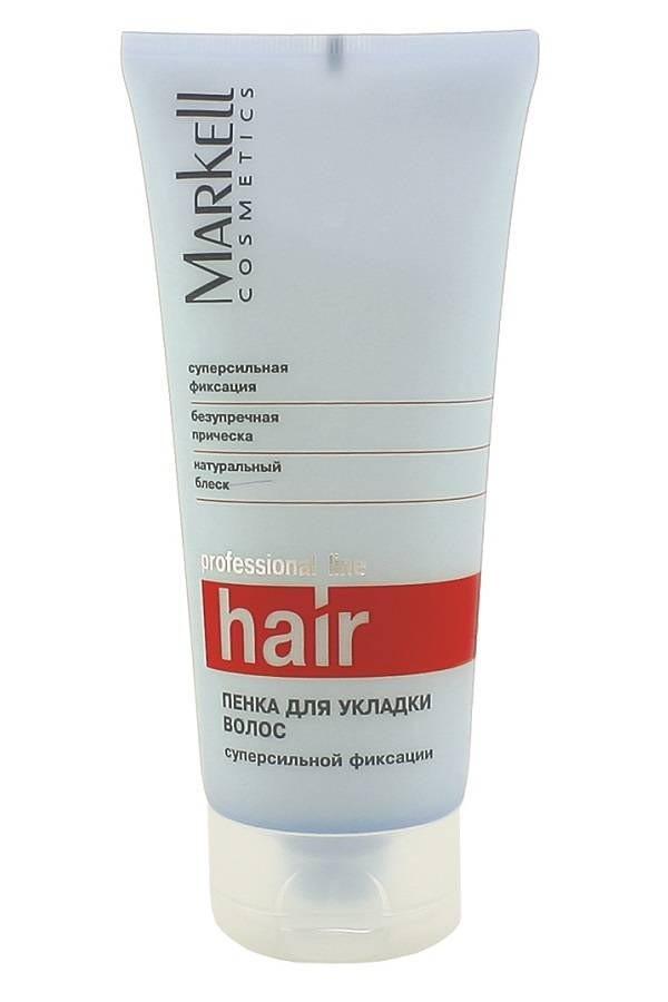 Markell Пенка для укладки волос суперсильной фиксацииMarkell<br>Пенка для укладки волос суперсильной фиксации - профессиональное средство для для создания безупречной прически. Обеспечивает длительное сохранение естественной прически и объема, идеально фиксирует даже при повышенной влажности.<br>Fancorsil LIM - специальный комплекс на основе ненасыщенных жирных кислот масла луговых трав и силикона. Способствует укреплению волос, значительно увеличивает их прочность, восстанавливает структуру поврежденного волоса и возвращает его к нормальному состоянию.<br><br>Вес г: 550<br>Бренд: Markell<br>Объем мл: 500<br>Степень фиксации: сильная<br>Тип волос: все типы волос<br>Страна производитель: Белоруссия<br>Средство стайлинга: мусс/пенка<br>Степень фиксации: сильная<br>Эффект стайлинга: объем, фиксация