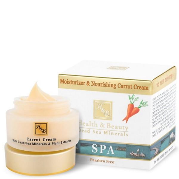 Health&amp;Beauty Крем для лица увлажняющий питательный с маслом МорковиHealth&amp;Beauty<br>Мощный увлажняющий и питательный крем на основе натуральных ингредиентов для регенерации кожи лица. Крем создан по уникальной инновационной формуле, которая значительно улучшает текстуру кожи. Крем обогащен морковным маслом, которое известно как одно из наиболее рекомендуемых масел для лечения кожи. Оно богато бета-каротином, защищает кожу от дыма, ультрафиолета и загрязненного воздуха. Масло моркови повышает упругость и эластичность и восстанавливает уставшую вялую кожу. Крем обогащен витаминами A + B + C + D + E + K, облепиховым маслом, маслами граната, шиповника, ромашки, жирными кислотами Омега-3 и 6, солнцезащитными фильтрами и минералами Мертвого моря. Это органический антивозрастной крем для замедления старения кожи всех типов.<br><br>Вес г: 80<br>Бренд : Health &amp; Beauty<br>Объем мл: 50<br>Тип кожи : все типы кожи<br>Консистенция : крем<br>Тип крема : увлажняющий, питательный, антивозрастной, витаминизированный<br>Возраст : 25+, 30+, 35+, 40+<br>Эффект : выравнивание, сокращает морщины<br>По времени суток : дневной уход<br>Страна производитель : Израиль