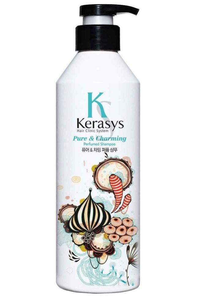 KeraSys Шампунь для волос Шарм для силы и блеска волосKeraSys<br>Керасис Парфюмированная линия ШАРМ<br>Шампунь для волос Kerasys Pure &amp;amp; Charming ParfumedСпециально разработанная формула ДЛЯ СУХИХ И ЛОМКИХ ВОЛОС, мгновенно увлажняет и восстанавливает структуру волос по всей длине. Волосы обретают жизненную силу, блеск и шелковистость. Содержит пантенол провитамин В5, экстракты белой лилии и гардении.Аромат: чистый и свежий аромат словно прохлада раннего весеннего утра. Придаст Вам невероятный шарм и неповторимое очарование.Парфюмерная композиция:<br>Начальная нота: бергамот, мандарин, зеленый мандарин.<br>Срединная нота: ландыш, цветы персика, розовая роза.<br>Конечная нота: кедр, мускус, кардамон.Объем: 600 мл<br><br>Вес г: 650<br>Бренд : KeraSys<br>Объем мл: 600<br>Тип волос : сухие, тонкие и ослабленные, длинные и секущиеся<br>Действие : увлажнение, восстановление, блеск и эластичность<br>Тип средства для волос : шампунь<br>Страна производитель : Корея