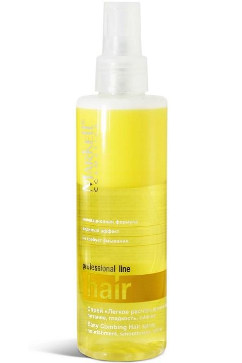 Markell Спрей Легкое расчесывание волос питание, гладкость, сияниеMarkell<br>Идеальное средство для дополнительного ухода за волосами. Облегчает расчесывание влажных и сухих волос, снимает статический заряд. Запаивает неровности и шероховатости каждого волоска, делая волосы гладкими и блестящими. Масло авокадо незаменимо в уходе за окрашенными, поврежденными и чрезмерно сухими волосами. Увлажняет и питает волосы, стимулирует процессы роста, препятствует выпадению, восстанавливает секущиеся кончики. Д-пантенол и витамин F устраняют ломкость и сухость волос, способствуют восстановлению.Применение: встряхнуть, распылить на влажные либо сухие волосы. Не смывать. Не наносить на корни волос.<br><br>Вес г: 220<br>Бренд : Markell<br>Объем мл: 200<br>Тип волос : сухие, поврежденные, окрашенные<br>Действие : увлажнение, питание, восстановление, легкое расчесывание, сохранение цвета, блеск и эластичность, разглаживание<br>Тип средства для волос : спрей<br>Страна производитель : Белоруссия
