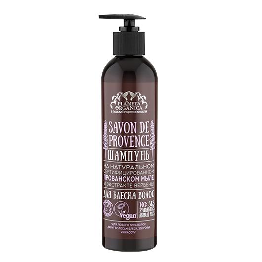SAVON de Planeta Organica Шампунь для блеска волос Savon de PROVENCE 400млДля волос<br>Лавандовые поля, чарующие взор, душистые прованские травы, пробуждающие эмоции. Этот шампунь создан на основе натурального сертифицированного прованского мыла, сваренного по традиционному рецепту, согласно которому, воздушную очищающую пену получают из натурального масла оливы, прошедшего процесс естественного омыления. Масло оливы издревле используется для ухода за уставшими, иссушенными волосами. Масло лаванды оздоравливает волосы и кожу головы, экстракт вербены укрепляет, восстанавливает их структуру. Шампунь раскрывает природную красоту ваших волос и придает им блеcк французского шика.<br><br>Вес г: 430<br>Бренд: Planeta Organica<br>Объем мл: 400<br>Тип волос: все типы волос<br>Действие: блеск и эластичность<br>Тип средства для волос: шампунь<br>Страна производитель: Россия