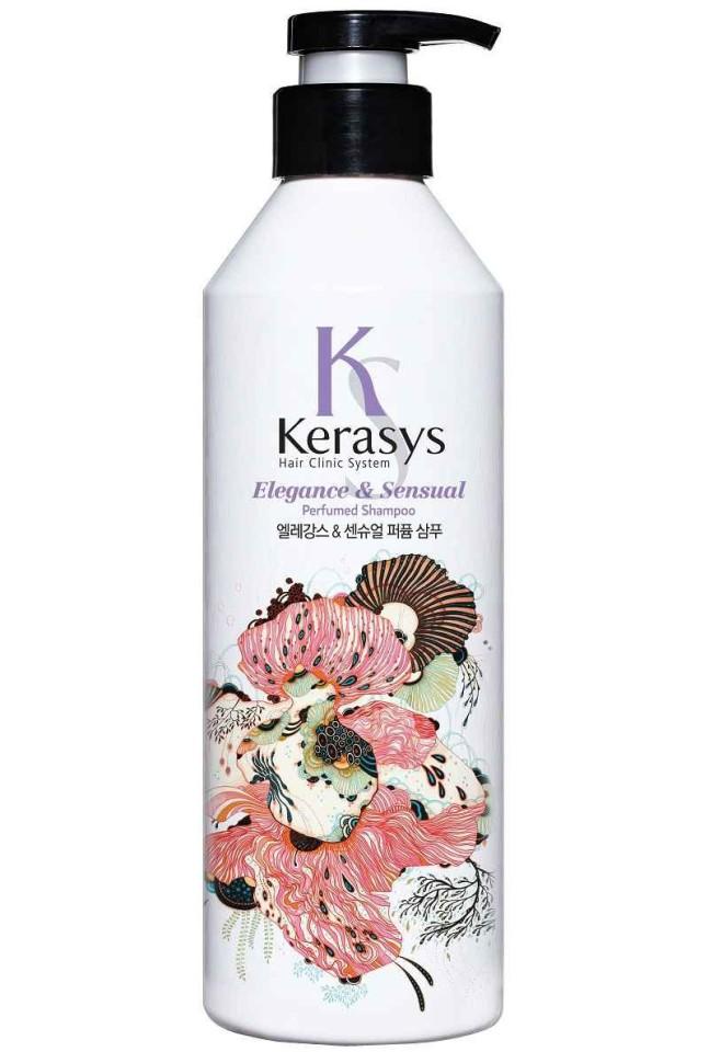 KeraSys Шампунь для волос Элеганс для блеска и шолковистостиKeraSys<br>Керасис Парфюмированная линия ЭЛЕГАНС<br>Шампунь для волос Kerasys Elegance &amp;amp; Sensual ParfumedСпециально разработанная формула ДЛЯ ТОНКИХ И ОСЛАБЛЕННЫХ ВОЛОС, укрепляет и восстанавливает структуру волос по всей длине. Волосы обретают жизненную силу, эластичность и объем. Содержит витамины А и Е, масло оливы и масло ши.Аромат: изысканный и грациозный аромат с нотками лилового цвета для современной и утонченной натуры. Подчеркнет Ваш стиль и элегантность.Парфюмерная композиция:<br>Начальная нота: цветы яблони, ирис.<br>Срединная нота: тубероза, иланг-иланг, фиалка, гиацинт.<br>Конечная нота: сандал, рисовая мука, мускус.Объем: 600 мл<br><br>Вес г: 650<br>Бренд : KeraSys<br>Объем мл: 600<br>Тип волос : поврежденные, тонкие и ослабленные, длинные и секущиеся<br>Действие : питание, укрепление, восстановление, для объема, блеск и эластичность<br>Тип средства для волос : шампунь<br>Страна производитель : Корея