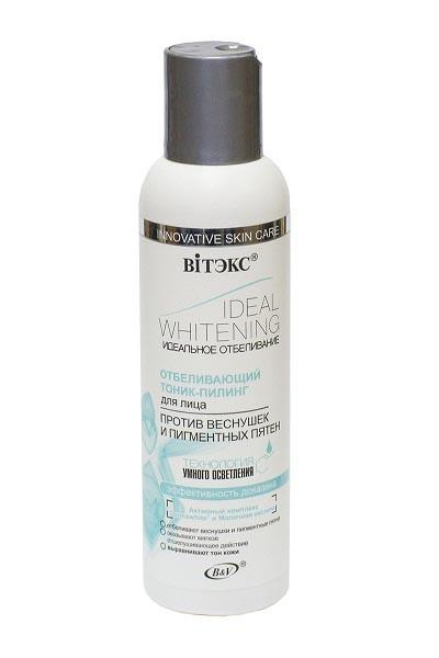 Витэкс Тоник-пилинг отбеливающий для лицаВитэкс<br>Отбеливающий тоник-пилинг выравнивает цвет кожи и минимизирует появление пигментных пятен. Благодаря уникальной технологии умного осветления компоненты глубоко проникают в кожу и прицельно воздействуют на участки, которым необходимо осветление. Активный комплекс Dermawhite® обеспечивает отбеливающий эффект, воздействуя на разные стадии процесса пигментации кожи, заметно осветляя веснушки и пигментные пятна. Молочная кислота оказывает мягкое отшелушивающее действие, стимулируя обновление кожи. Натуральный растительный экстракт толокнянки помогает снизить синтез меланина и минимизировать появление пигментных пятен.<br><br>Вес г: 170<br>Бренд: Витэкс<br>Объем мл: 150<br>Тип кожи: все типы кожи<br>Вид средства для демакияжа: тоник<br>Страна производитель: Белоруссия