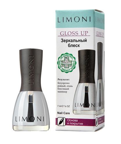 Limoni Основа и покрытие Gloss Up Зеркальный блеск (в коробочке)Средства для ногтей<br>Насыщенный блеск покрывает ногти прозрачной сверкающей глазурью и защищает цвет от быстрого увядания. Применяйте средство от Лимони на свежий лак, это подчеркнёт яркость выбранного цвета, особенно металлических и перламутровых оттенков. Зеркальный блеск превзойдет все ожидания!Способ применения: Нанесите один слой поверх лака для ногтей. Для придания дополнительного блеска и свежести, наносите каждые два дня.Объем: 7 мл.<br><br>Вес г: 50<br>Бренд : Limoni<br>Тип средства для ногтей : верхнее покрытие