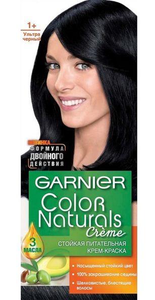 Garnier Краска для волос Color Naturals (1+ Ультра черный)Краска для волос<br>Глубокое питание, насыщенный цвет, стойкость более 8 недельСпециальная формула краски для волос Garnier Color Naturals, обогащенная 3 маслами, проникает в самое сердце волоса и интенсивно питает его. Благодаря глубокому питанию волосы лучше насыщаются цветом и сохраняют его надолго. Крем-краска Гарньер Колор Нэчралс имеет кремообразную текстуру, которая легко наносится, не течет и имеет приятный аромат.<br>Результат: <br>Стойкость более 8-ми недель<br>Глубокое питание волос<br>100% закрашивание седины<br><br>Вес г: 150<br>Бренд : Garnier<br>Вид краски для волос : стойкая краска<br>Оттенок краски для волос : 1+ Ультра черный