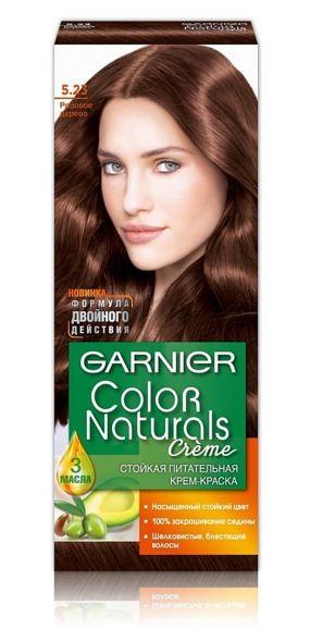 Garnier Краска для волос Color Naturals (5.23 Розовое дерево)Краска для волос<br>Глубокое питание, насыщенный цвет, стойкость более 8 недельСпециальная формула краски для волос Garnier Color Naturals, обогащенная 3 маслами, проникает в самое сердце волоса и интенсивно питает его. Благодаря глубокому питанию волосы лучше насыщаются цветом и сохраняют его надолго. Крем-краска Гарньер Колор Нэчралс имеет кремообразную текстуру, которая легко наносится, не течет и имеет приятный аромат.<br>Результат: <br>Стойкость более 8-ми недель<br>Глубокое питание волос<br>100% закрашивание седины<br><br>Вес г: 150<br>Бренд : Garnier<br>Вид краски для волос : стойкая краска<br>Оттенок краски для волос : 5.23 Розовое дерево