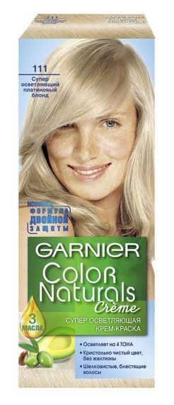Garnier Краска для волос Color Naturals (111 Платиновый блондин)Краска для волос<br>Глубокое питание, насыщенный цвет, стойкость более 8 недельСпециальная формула краски для волос Garnier Color Naturals, обогащенная 3 маслами, проникает в самое сердце волоса и интенсивно питает его. Благодаря глубокому питанию волосы лучше насыщаются цветом и сохраняют его надолго. Крем-краска Гарньер Колор Нэчралс имеет кремообразную текстуру, которая легко наносится, не течет и имеет приятный аромат.<br>Результат: <br>Стойкость более 8-ми недель<br>Глубокое питание волос<br>100% закрашивание седины<br><br>Вес г: 150<br>Бренд : Garnier<br>Вид краски для волос : стойкая краска<br>Оттенок краски для волос : 111 Платиновый блондин