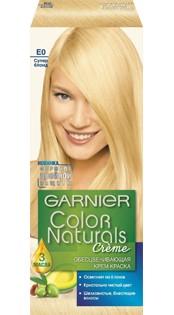 Garnier Краска для волос Color Naturals (ЕО Супер блонд)Краска для волос<br>Глубокое питание, насыщенный цвет, стойкость более 8 недельСпециальная формула краски для волос Garnier Color Naturals, обогащенная 3 маслами, проникает в самое сердце волоса и интенсивно питает его. Благодаря глубокому питанию волосы лучше насыщаются цветом и сохраняют его надолго. Крем-краска Гарньер Колор Нэчралс имеет кремообразную текстуру, которая легко наносится, не течет и имеет приятный аромат.<br>Результат: <br>Стойкость более 8-ми недель<br>Глубокое питание волос<br>100% закрашивание седины<br><br>Вес г: 150<br>Бренд: Garnier<br>Вид краски для волос: стойкая краска<br>Оттенок краски для волос: ЕО Супер блонд