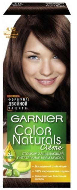 Garnier Краска для волос Color Naturals (4.15 Морозный каштан)Краска для волос<br>Глубокое питание, насыщенный цвет, стойкость более 8 недельСпециальная формула краски для волос Garnier Color Naturals, обогащенная 3 маслами, проникает в самое сердце волоса и интенсивно питает его. Благодаря глубокому питанию волосы лучше насыщаются цветом и сохраняют его надолго. Крем-краска Гарньер Колор Нэчралс имеет кремообразную текстуру, которая легко наносится, не течет и имеет приятный аромат.<br>Результат: <br>Стойкость более 8-ми недель<br>Глубокое питание волос<br>100% закрашивание седины<br><br>Вес г: 150<br>Бренд : Garnier<br>Вид краски для волос : стойкая краска<br>Оттенок краски для волос : 4.15 Морозный каштан