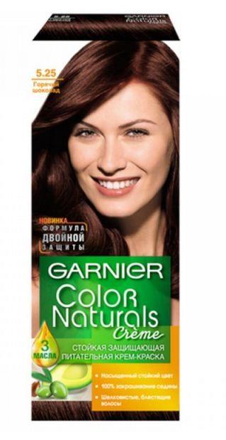Garnier Краска для волос Color Naturals (5.25 Горячий шоколад)Краска для волос<br>Глубокое питание, насыщенный цвет, стойкость более 8 недельСпециальная формула краски для волос Garnier Color Naturals, обогащенная 3 маслами, проникает в самое сердце волоса и интенсивно питает его. Благодаря глубокому питанию волосы лучше насыщаются цветом и сохраняют его надолго. Крем-краска Гарньер Колор Нэчралс имеет кремообразную текстуру, которая легко наносится, не течет и имеет приятный аромат.<br>Результат: <br>Стойкость более 8-ми недель<br>Глубокое питание волос<br>100% закрашивание седины<br><br>Вес г: 150<br>Бренд : Garnier<br>Вид краски для волос : стойкая краска<br>Оттенок краски для волос : 5.25 Горячий шоколад