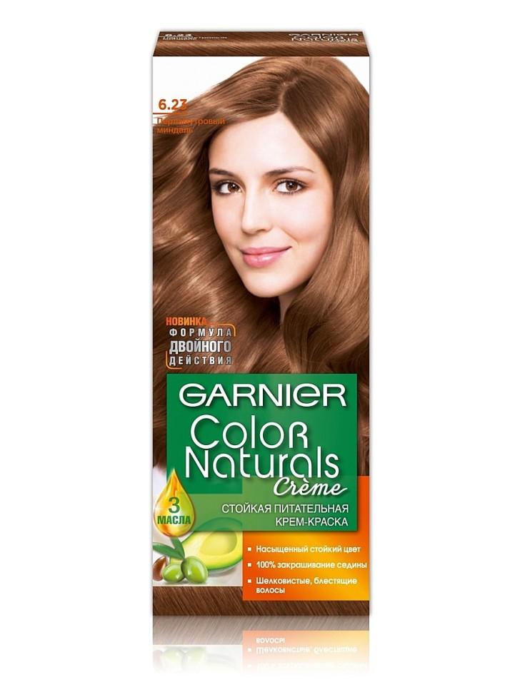Garnier Краска для волос Color Naturals (6.23 Перлам. миндаль)Краска для волос<br>Глубокое питание, насыщенный цвет, стойкость более 8 недельСпециальная формула краски для волос Garnier Color Naturals, обогащенная 3 маслами, проникает в самое сердце волоса и интенсивно питает его. Благодаря глубокому питанию волосы лучше насыщаются цветом и сохраняют его надолго. Крем-краска Гарньер Колор Нэчралс имеет кремообразную текстуру, которая легко наносится, не течет и имеет приятный аромат.<br>Результат: <br>Стойкость более 8-ми недель<br>Глубокое питание волос<br>100% закрашивание седины<br><br>Вес г: 150<br>Бренд : Garnier<br>Вид краски для волос : стойкая краска<br>Оттенок краски для волос : 6.23 Перлам. миндаль