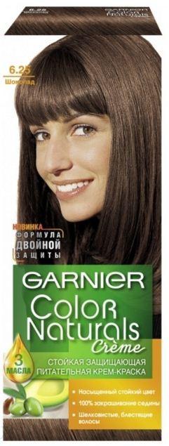 Garnier Краска для волос Color Naturals (6.25 Шоколад)Краска для волос<br>Глубокое питание, насыщенный цвет, стойкость более 8 недельСпециальная формула краски для волос Garnier Color Naturals, обогащенная 3 маслами, проникает в самое сердце волоса и интенсивно питает его. Благодаря глубокому питанию волосы лучше насыщаются цветом и сохраняют его надолго. Крем-краска Гарньер Колор Нэчралс имеет кремообразную текстуру, которая легко наносится, не течет и имеет приятный аромат.<br>Результат: <br>Стойкость более 8-ми недель<br>Глубокое питание волос<br>100% закрашивание седины<br><br>Вес г: 150<br>Бренд : Garnier<br>Вид краски для волос : стойкая краска<br>Оттенок краски для волос : 6.25 Шоколад