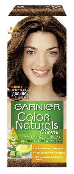 Garnier Краска для волос Color Naturals (6.34 Карамель)Краска для волос<br>Глубокое питание, насыщенный цвет, стойкость более 8 недельСпециальная формула краски для волос Garnier Color Naturals, обогащенная 3 маслами, проникает в самое сердце волоса и интенсивно питает его. Благодаря глубокому питанию волосы лучше насыщаются цветом и сохраняют его надолго. Крем-краска Гарньер Колор Нэчралс имеет кремообразную текстуру, которая легко наносится, не течет и имеет приятный аромат.<br>Результат: <br>Стойкость более 8-ми недель<br>Глубокое питание волос<br>100% закрашивание седины<br><br>Вес г: 150<br>Бренд : Garnier<br>Вид краски для волос : стойкая краска<br>Оттенок краски для волос : 6.34 Карамель