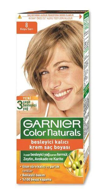 Garnier Краска для волос Color Naturals (8 Пшеница)Краска для волос<br>Глубокое питание, насыщенный цвет, стойкость более 8 недельСпециальная формула краски для волос Garnier Color Naturals, обогащенная 3 маслами, проникает в самое сердце волоса и интенсивно питает его. Благодаря глубокому питанию волосы лучше насыщаются цветом и сохраняют его надолго. Крем-краска Гарньер Колор Нэчралс имеет кремообразную текстуру, которая легко наносится, не течет и имеет приятный аромат.<br>Результат: <br>Стойкость более 8-ми недель<br>Глубокое питание волос<br>100% закрашивание седины<br><br>Вес г: 150<br>Бренд : Garnier<br>Вид краски для волос : стойкая краска<br>Оттенок краски для волос : 8 Пшеница